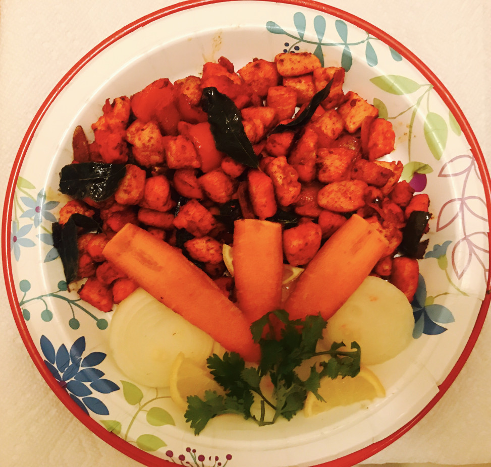 dry pepper chicken cubes